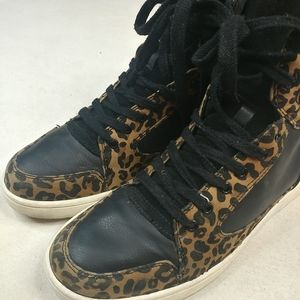 ASOS Black Leather Leopard High Top Athletic Shoe.